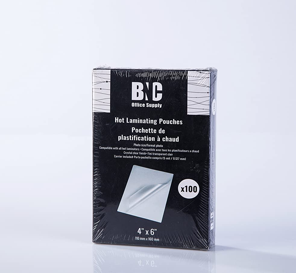 BNC Thermal Laminating Pouches, 5 Mil Thick, 100 Pack,Photo Size 4