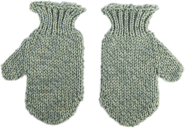 100% Pure Merino Wool Children's Celtic Aran Knit Mittens Irish Made in Ireland by Aran Woolen Mills, Green and Blue Colors
