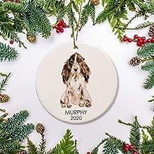 Round Ceramic Keepsake for Christmas Tree Decor, Cocker Spaniel Dog Personalized Ornament Dog Christmas Ornament Cocker Sp...