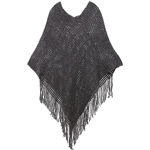 b9297b75f3da AshopZ Womens Soft Knit Shawl Wrap Fashion Tassel Edge Sweater with Sequins