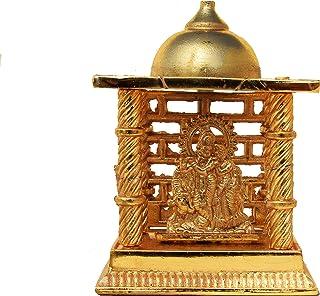 Hashcart (4.5 inch Radha Krishna Mandir- Brass Plated Especially for Diwali Puja and Gift Purpose