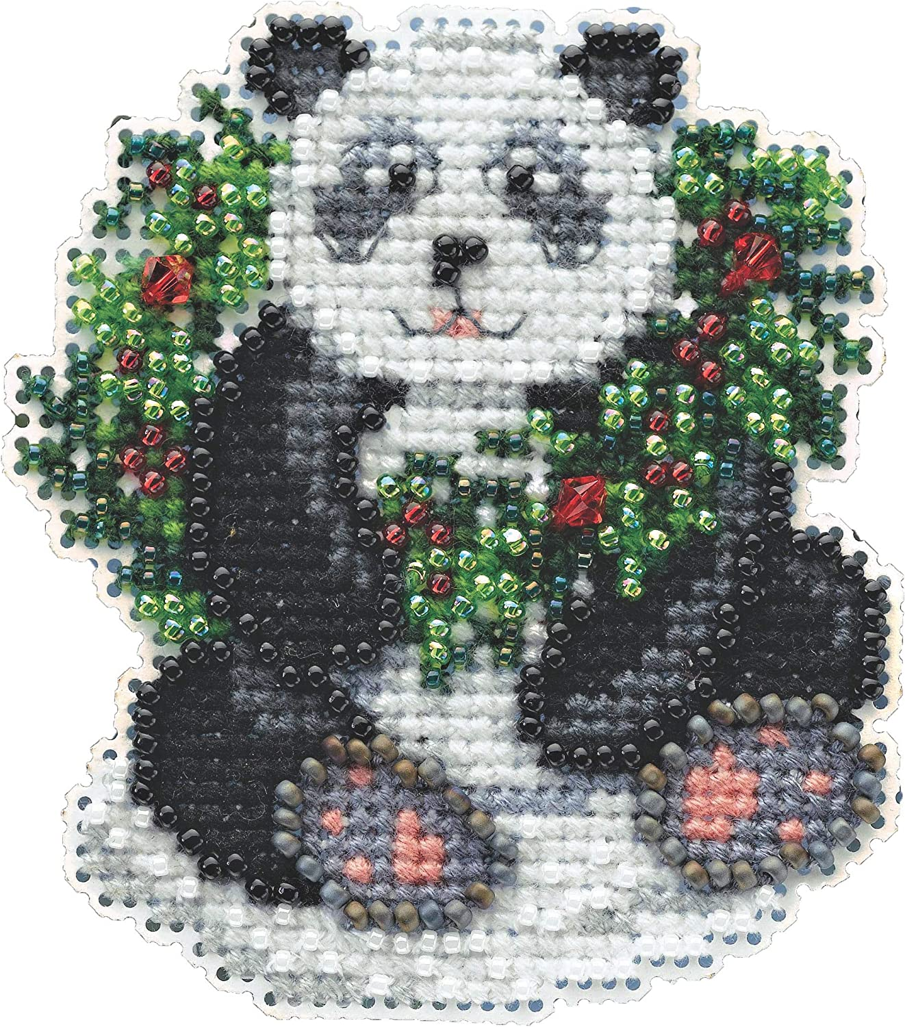 Holiday Panda Mill Hill Cheap SALE Start Beaded Outstanding Stitch Kit Counted Cross MH184304