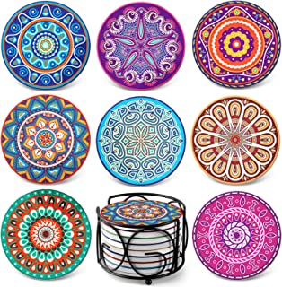 Teivio Absorbing Stone Mandala Coasters for Drinks Cork Base, with Holder, for Friends,..