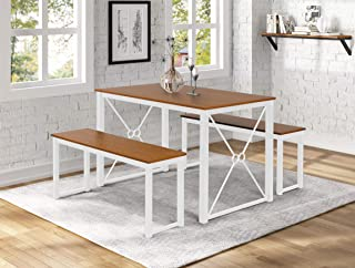 Newtree 3-Piece Dining Table Set with 2 Benches,43