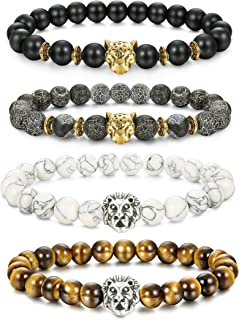 2-6 Pcs Lava Rock Bead Bracelet for Men Leopard Lion Bracelet Set Adjustable 8MM Beads