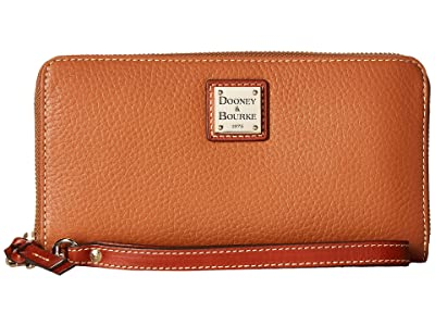 Dooney & Bourke Pebble Leather Large Zip Around Wristlet (Caramel) Wristlet Handbags