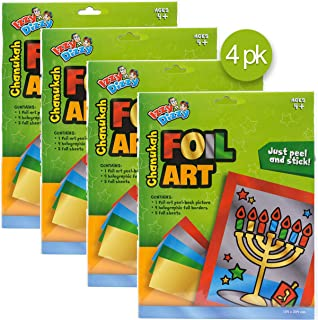 Izzy 'n' Dizzy Hanukkah Foil Art Kit - 4 Pack - Chanukah Arts and Crafts - Gifts and Games