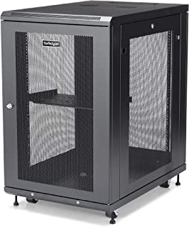 "StarTech.com 18U Server Rack Cabinet - 4-Post Adjustable Depth (2"" to 30"") Network Equipment Rack Enclosure w/Casters/Cabl..."