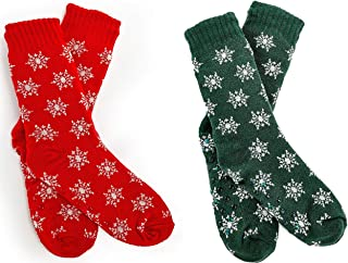 FGR Christmas (2 Pack) Womens Thick Knit Sherpa Fleece Lined Thermal Fuzzy Slipper Socks With Grippers Green Red Snow