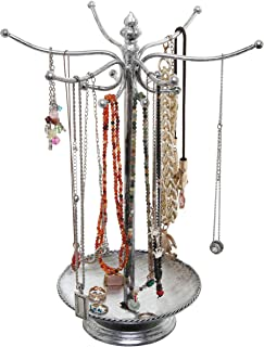 Victorian Style Silver Metal Bracelet Necklace Jewelry Organizer Tree Hooks Rack Stand w/Ring Dish Tray
