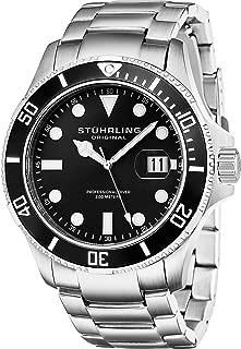 Stuhrling Original Aquadiver Regatta Espora Men's Quartz Watch With Black Dial Analogue Display and Silver Stainless Steel Bracelet 417.02