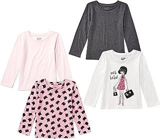 Amazon Brand - Spotted Zebra Girls' 4-Pack Long-Sleeve T-Shirts