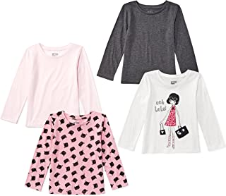 Amazon Brand - Spotted Zebra Girls' Toddler & Kids 4-Pack Long-Sleeve T-Shirts