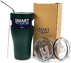 Tumbler 30 Oz Smart Cup - Ultra-Tough Double Wall Stainless Steel - Yeti Style - Premium Insulated Mug - Powder Coated - Leak-Proof, Sliding Lid, Straw, Brush & Gift Box - Dark Green