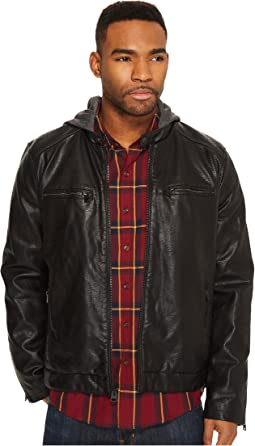 Levi's® - Faux Leather Racer with Quilted Shoulders and Jersey Hood