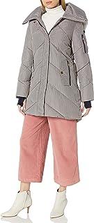 BCBGeneration لحاف شيفرون للنساء مع غطاء من الفرو الصناعي أسفل معطف بديل