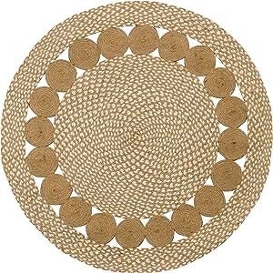 Purity Alfombra Redonda de algodón Natural y Yute Trenzado Pure Eco (90 cm x 90 cm)