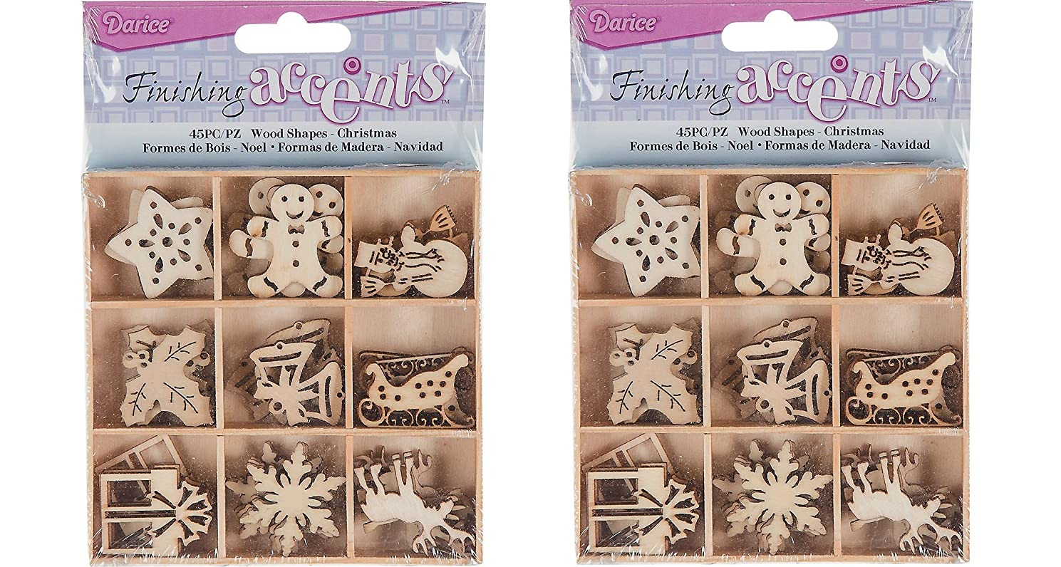 Finishing Accents Mini Laser Cuts Wood Shapes Holiday Theme - 90 Pieces