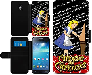 c riveras Alice in Wonderland Inspired Phone case Curiouser and Curiouser Book Page Fan Art Faux Leather flip Wallet Mobile Cover for Samsung Galaxy S4