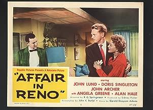 MOVIE POSTER: Affair in Reno Lobby Card #5-1957-John Lund hugging Doris Singleton