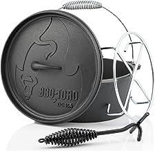 BBQ-Toro Dutch Oven Alpha Serie I bereits eingebrannt - preseasoned I Verschiedene Größen I Gusseisen Kochtopf I Bräter mit Deckelheber DO45A - 3,1 Liter, Topf ohne Füße