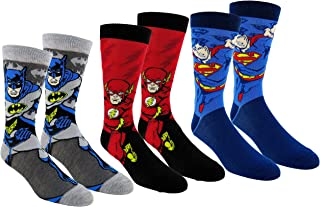 Justice League Mens Casual Crew Socks 2 & 3 Pair Packs (One Size, JL Multi-color)