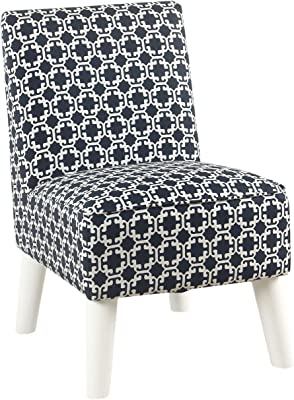 Benjara Lattice Print Fabric Upholstered Kids Slipper Chair with Splayed Wooden Legs, Blue and White
