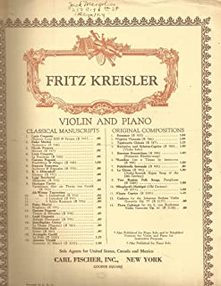Fritz Kreisler Tambourin Chinois for Violin and Piano 1063 and Caprice Viennois