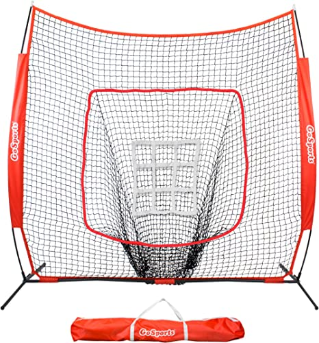 GoSports 7 X 7feet Baseball & Softball Practice Hitting & Pitching Net with Bow Frame, Carry Bag and Bonus Strike Zon...