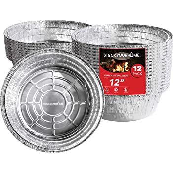 """Dutch Oven Liner (12 Pack) 12"""" Disposable Dutch Oven Foil Liners - Standard Size 12-Inch 6 Quart Dutch Oven Inserts for Most Camping Ovens"""