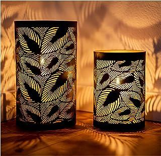 ZEYA Windlicht zwart metaal set van 2   windlicht gouden decoratie   perfecte decoratie woonkamer   windlicht lantaarn bla...