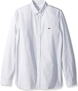 Lacoste Men's L/S Solid Casual Textured Cotton Collar Slim Fit Woven