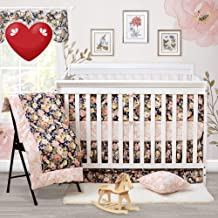 Brandream Crib Bedding Sets for Girls with Bumpers Baby Bedding Crib Sets Rose Floral Nursery Bedding Set,100% Cotton Soft, Navy and Pink, Shabby and Vintage Style, 9 Pieces