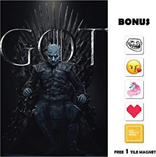 Movie Poster Game of Thrones GOT Season 8 - The Night King 13 in x 19 in Poster Flyer Borderless + Bonus 1 Free Tile Magnet