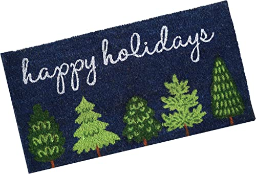 """lowest Sunnydaze wholesale 17"""" x 30.5"""" Printed Indoor/Outdoor Holiday Entrance Mat - Heavy Duty Absorbent outlet sale 53-Percent Coir and 47-Percent PVC Construction - Cute Christmas Decor - Green Trees online sale"""