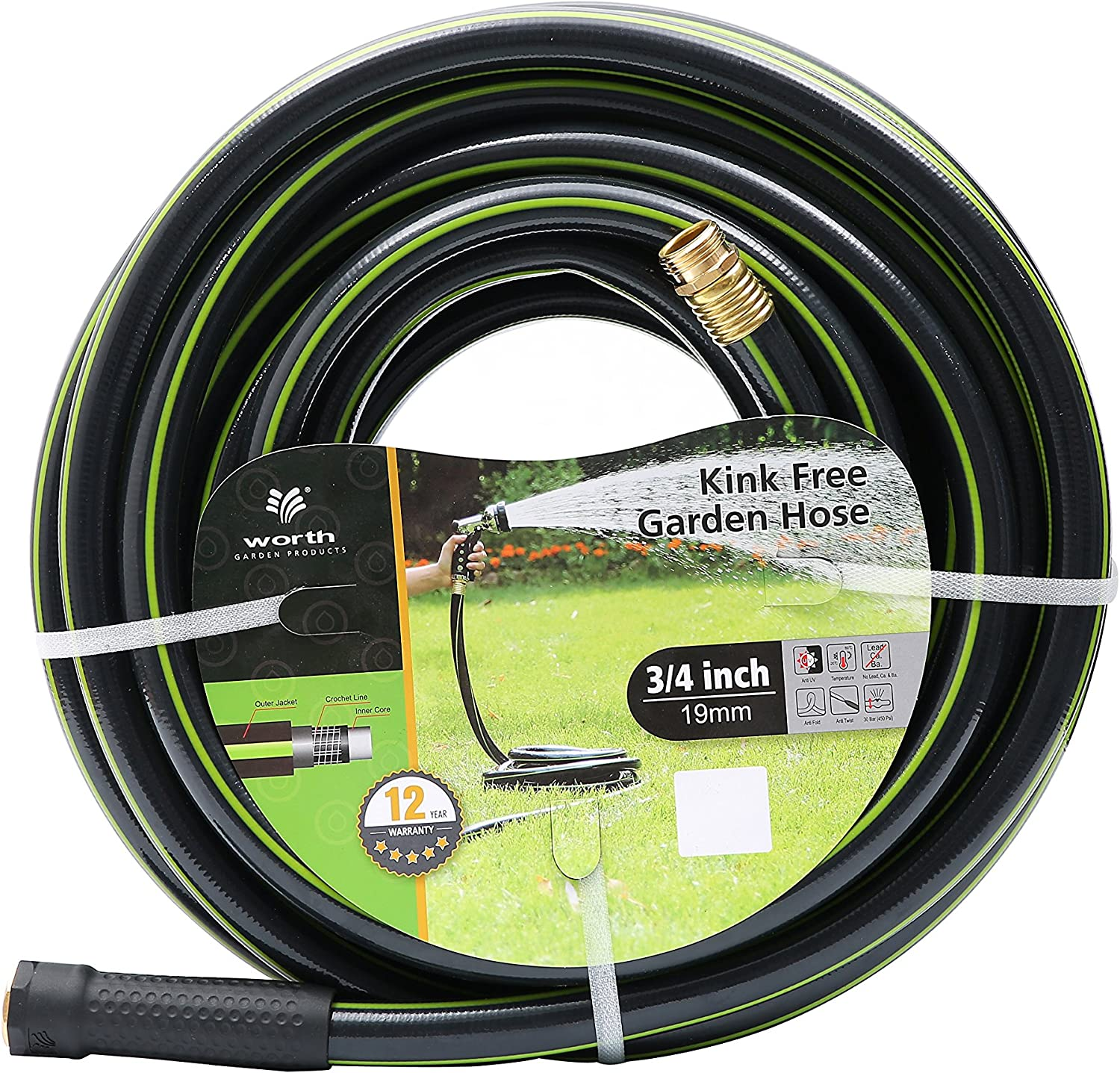 Worth Garden 3 4 in. Max Free shipping / New 59% OFF x 75 ft. 75' Hose Rugged Lo - Water 4''