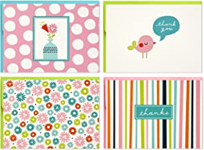Hallmark Assorted Notecards (Stripes, Floral, Polka Dots, Bird, 40 Cards and Envelopes)