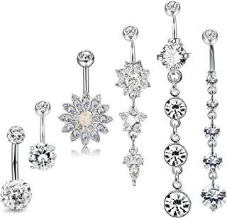 JOERICA 3-6PCS 14G Stainless Steel Belly Button Rings Navel Body Jewelry Belly Piercing CZ Inlaid