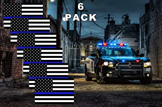 safetysignsdepot Thin Blue Line Reflective American Flag Decals Police Law Enforcement Support Bumper Stickers