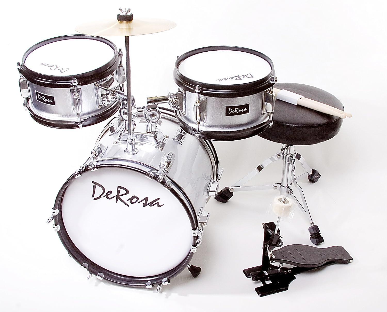 Black De Rosa DRM312-BK Childrens 3-Piece 12-Inch Drum Set with Chair