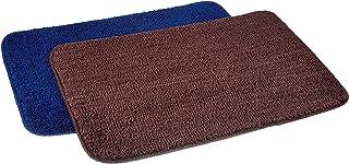 Amazon Brand - Solimo Anti-Slip Microfibre Bathmat, 40cm x 60cm - Pack of 2 (Blue and Brown)