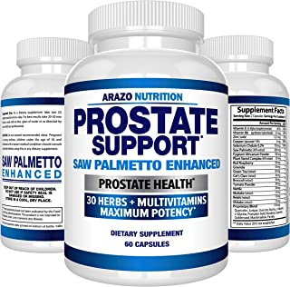 Prostate Supplement - Saw Palmetto + 30 Herbs - Reduce Frequent Urination, Remedy Hair Loss, Libido – Single Homeopathic Herbal Extract Health Supplements - Capsule or Pill - Arazo Nutrition