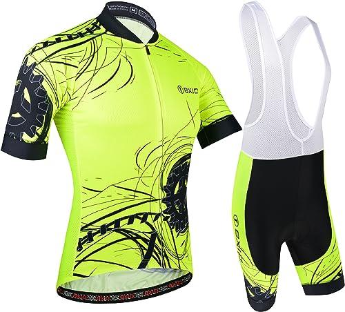 BXIO Vêtements Cyclisme Homme, Cuissard Court avec Gel 3D Rembourré Bretelles Séchage Rapide per VTT Sports de Plein ...