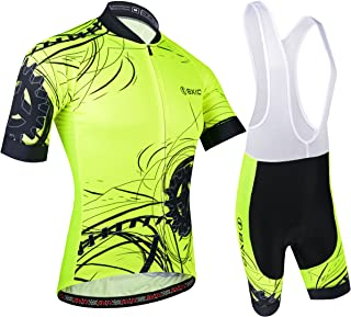 BXIO Hombres Jersey de Ciclo Bike Wear Yellow Fluo Carrera