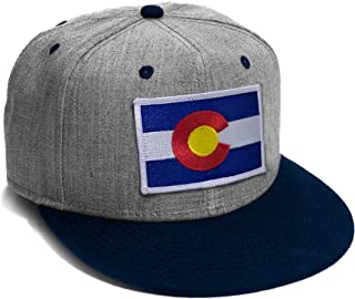 Colorado Flag Cap Navy and Grey Snap Back Flat Brim Baseball Hat