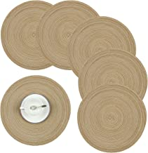 Homcomoda Round Table Placemats, Placemats for Kitchen Table Set of 6-14 Inch (Brown)