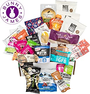 High Protein Healthy Snacks Fitness Box: Mix Of Natural Organic Non-GMO Protein Bars Cookies Granola Mix Jerky Nuts Premium Assortment Care Package (30 Count)