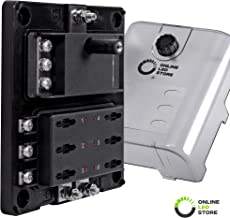 6-Circuit Blade Fuse Block With Thumbscrew Cover [LED Indicator] [Negative Ground Connections] [Dual Independent Positive Connections] [Stainless Steel Corrosion Protection] ATC/ATO/ATF Max. 180A Fuse
