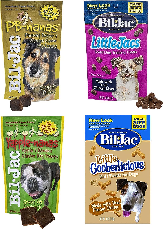 BilJac Treats 4 Bag Combo Pack  Peanut Butter Nanas Dog Treats 4oz, Liver Treats 4oz, YappleNanas 4oz, and Little Gooberlicious 4oz
