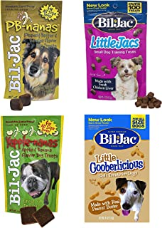 Bil-Jac Treats Combo Pack - Peanut Butter Nanas Dog Treats 4oz, Liver Treats 4oz, Yapple-Nanas 4oz, and Little Gooberlicious 4oz